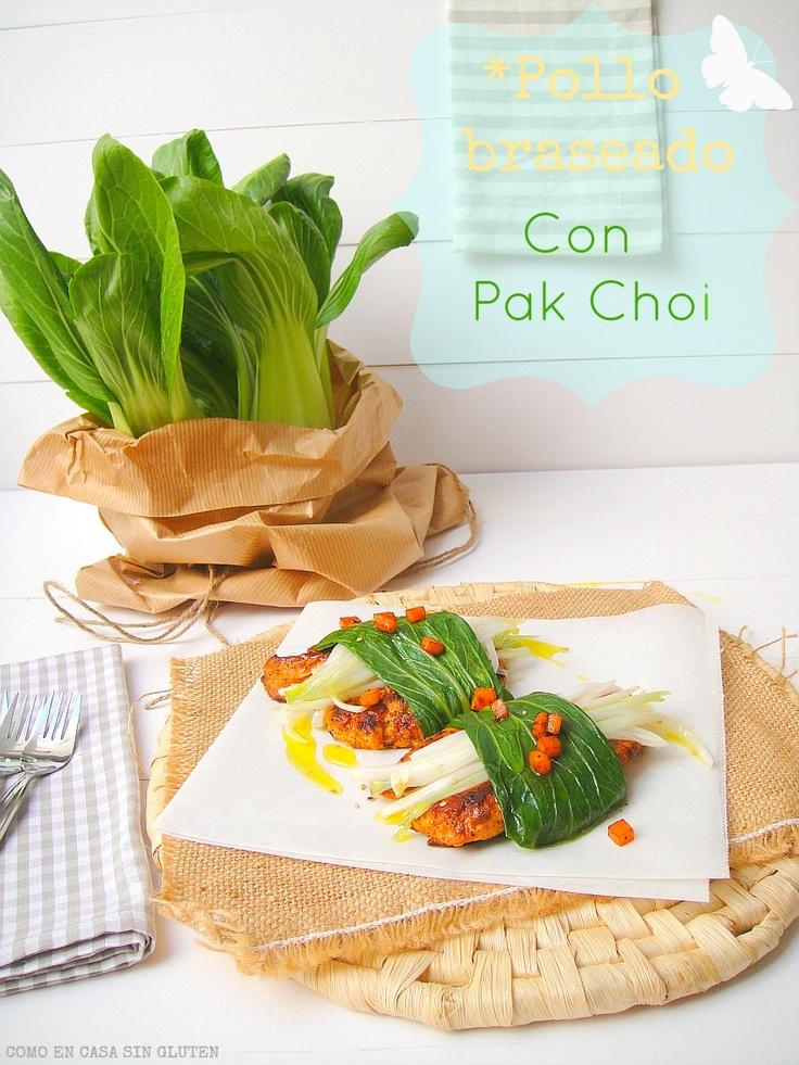 Pollo braseado con Pak Choi