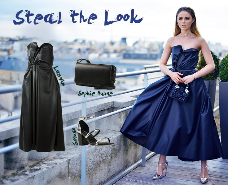 Steal blogger Kristina Bazan's stunning look featuring one of our favourite LANVIN dresses.  Shop now > http://www.farfetch.com/uk/shopping/women/lanvin-faux-leather-strapless-dress-item-10858493.aspx?storeid=9040&ffref=lp_2_