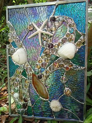 Stained Glass Window Tropical Starfish Sea Shell Beach Agate Suncatcher Panel