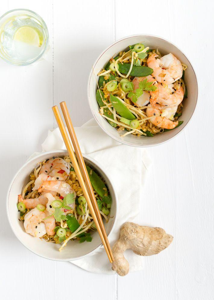 bloemkoolrijst met garnalen- #cauliflower rice bowl