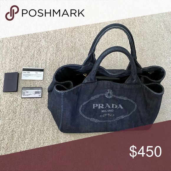 Prada Canapa large denim tote Excellent used condition! No flaws! Size Large.  100% authentic. Comes with everything listed Prada Bags … 80709bf3d7cd0