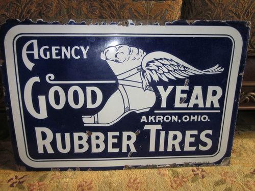 Very Rare Original Goodyear Rubber Tires Porcelain Sign