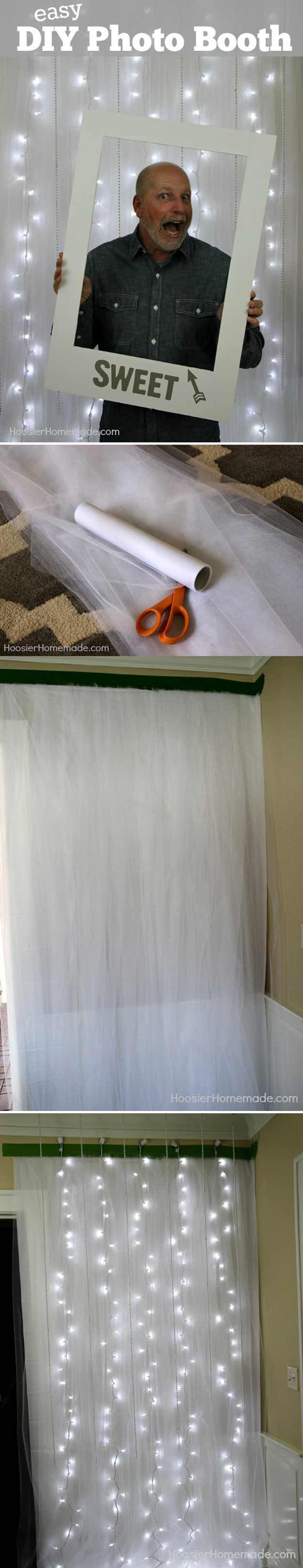Easy Photo Booth Tutorial Idea by DIY Ready at http://diyready.com/20-diy-photo-booth-ideas/