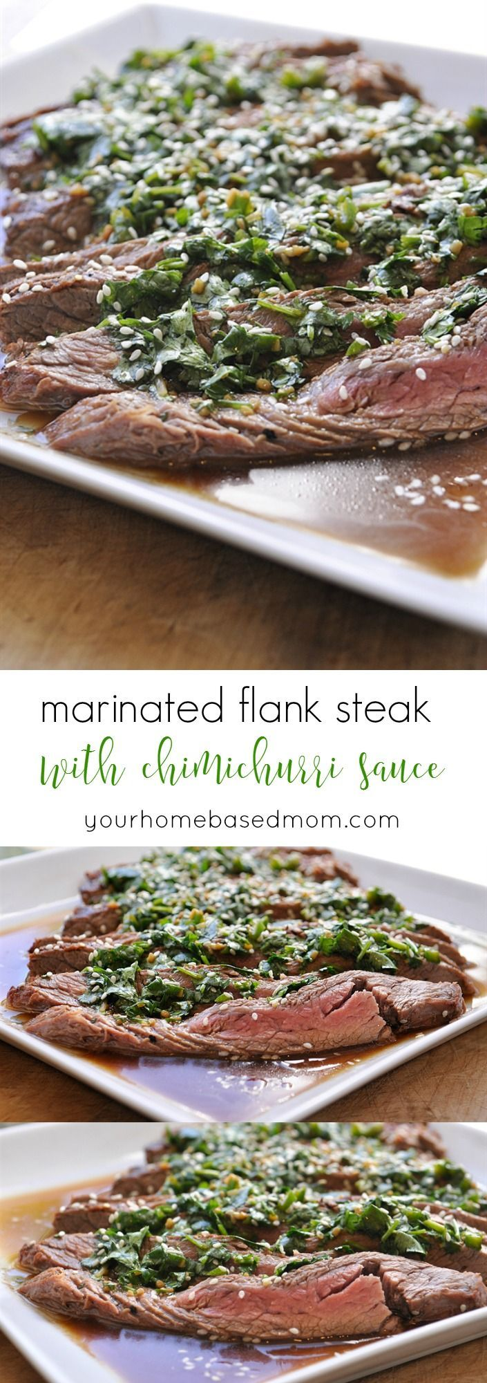Marinated Flank Steak with Chimichurri Sauce Recipe - This grilled flank steak is always a hit and so easy to prepare.  Topping it with chimichurri sauce is perfection.