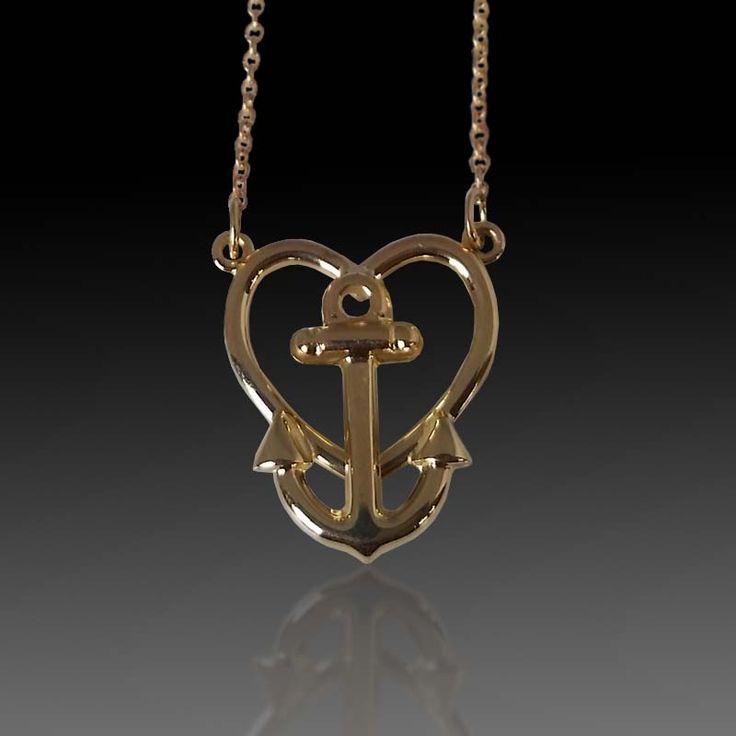 14 karat yellow gold heart and anchor pendant