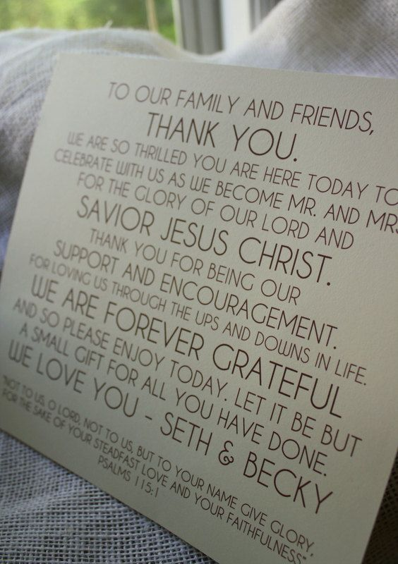 278 best Plans for a Christ centered wedding images on Pinterest - best of thank you letter format wedding
