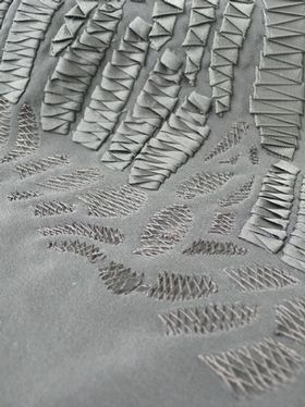 Fabric Manipulation - textiles design using ribbon and stitch surface detail to create repeating patterns and textures // Ashleigh Lindsay