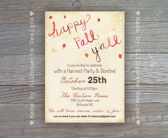 Fall Party Invitation Harvest Party Halloween by SilhouetteDesign