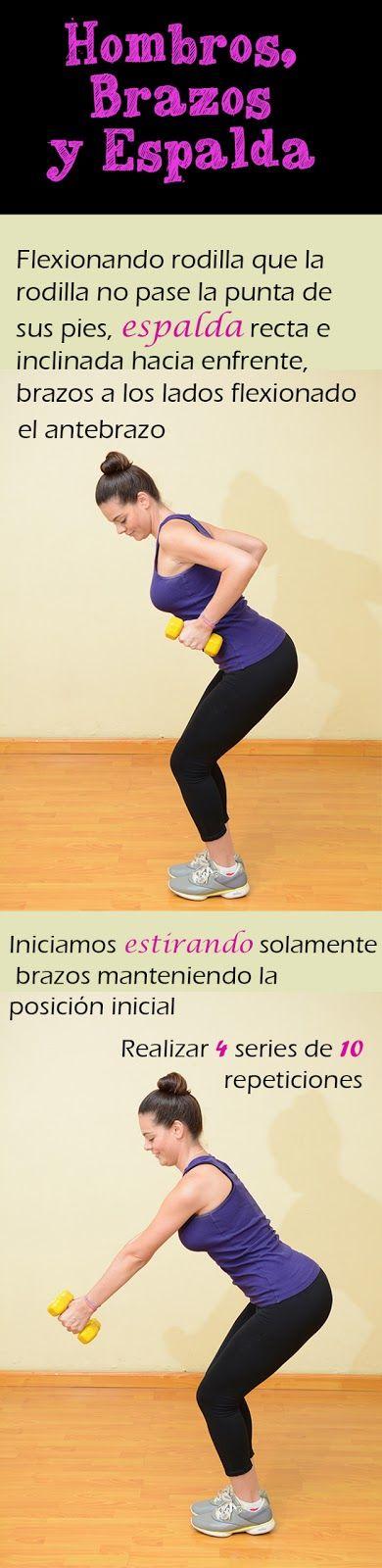 Rutinas de ejercicios. Hombros, brazos y espalda. #Ejercítate