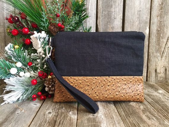 Linen Wristlet Vegan iPhone Wristlet Wallet by RavensMoonDesigns