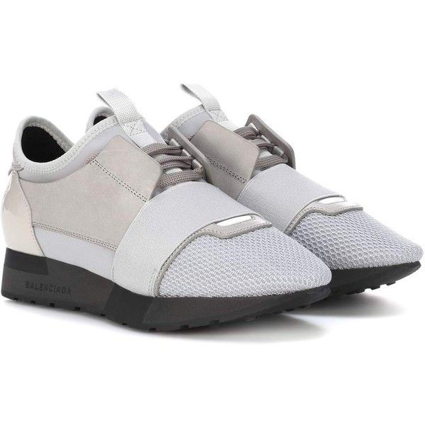 Balenciaga Race Runner Leather and Patent Leather Sneakers (7.265.930 IDR) ❤ liked on Polyvore featuring shoes, sneakers, grey, balenciaga sneakers, gray shoes, leather shoes, balenciaga trainers and leather sneakers