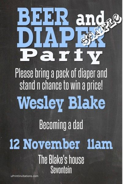 Beer and Diaper Baby Shower Invitations: Beer and Diaper Baby Shower Invitations BLUE