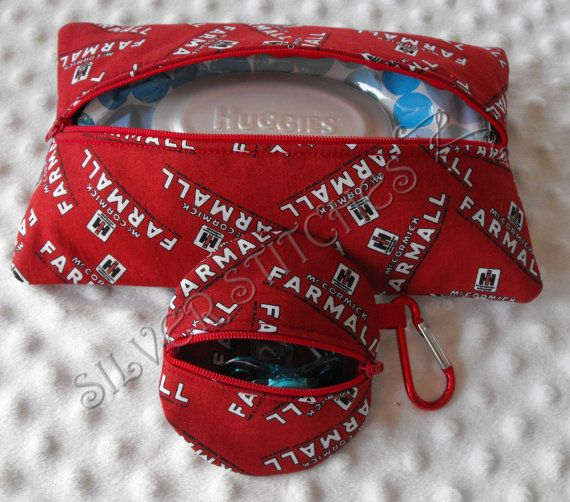 Red Case IH Paci Pod and Wipes Case Set on Etsy, $20.00