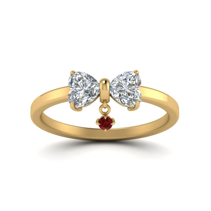 Fancy  Heart Diamond Drop Alternative Engagement Ring with Red Ruby in K Yellow Gold exclusively styled