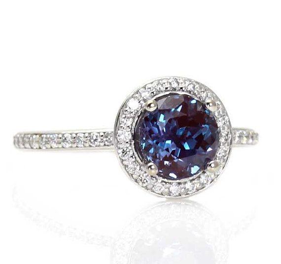 Alexandrite Engagement Ring Diamond Halo Setting Alexandrite Ring Custom 14K White Yellow Rose Gold Bridal Jewelry via Etsy