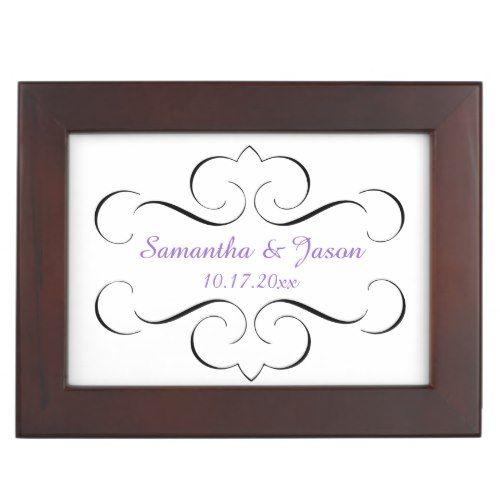 Ornate Black Swirls Purple Wedding Keepsake Box