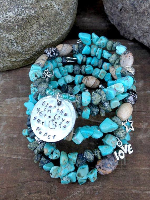 Breathe in Love Breathe Out Peace Five wrap by DFInspirations, $40.00Jewelry Crafts, Beads Bracelets, Memory Wire, Beaded Bracelets, Wraps Memories, Wire Beads, Metals Stamps, Stamps Charms, Memories Wire