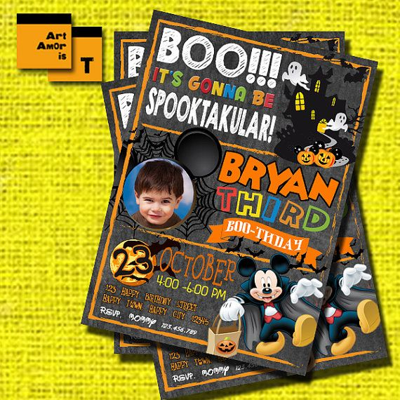 Mickey Mouse Halloween Birthday Invitation Halloween by ArtAmoris