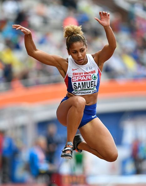 #RIO2016 Britain's Laura Samuel competes the Women's Triple Jump Qualifying Rounds during the European Athletics Championships at the Olympic Stadium in...