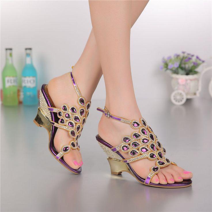 2016 Summer New Purple Women's Fashion Roman Luxury Buckle Bridal Shoes Online Diamond High Heeled Wedding Sandals High Quality #Affiliate