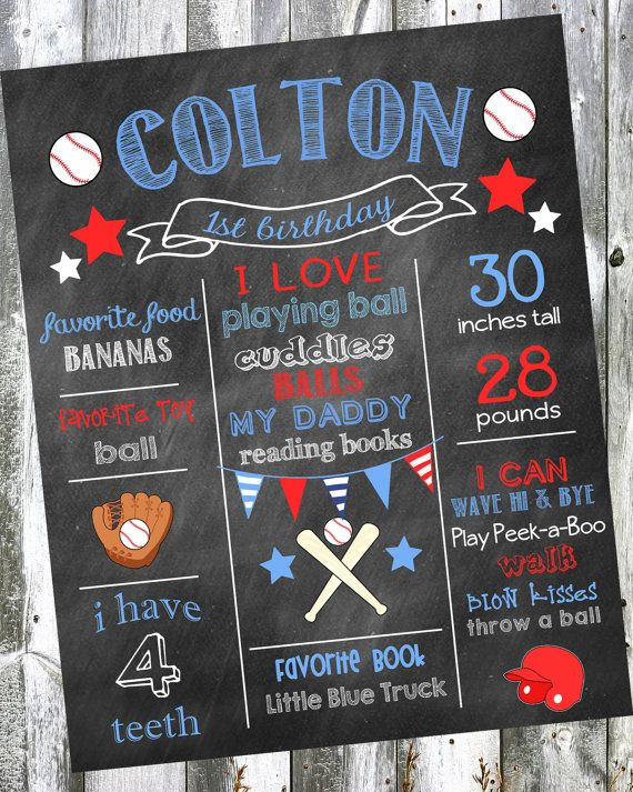 First Birthday Chalkboard Poster Sign - Baseball Sports- Printable - Digital File JPG - Baby's First Birthday on Etsy, $19.00