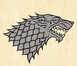 "Songs of Ice and Fire, House Stark sigil. A grey direwolf on a white field.  Their motto is ""Winter is Coming."""