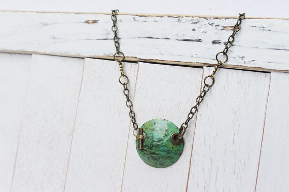 shoes   Circular Necklace w  Handmade Jewelry     Green       by Pendant asics feet Necklace  Pendant Rustic Antique Boho FUELLJewelry neutral  Discount off running Necklace        Green