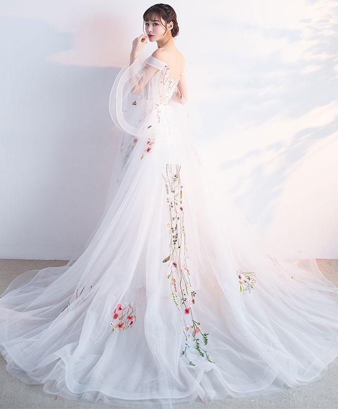 White tulle applique long prom dress, white evening dress