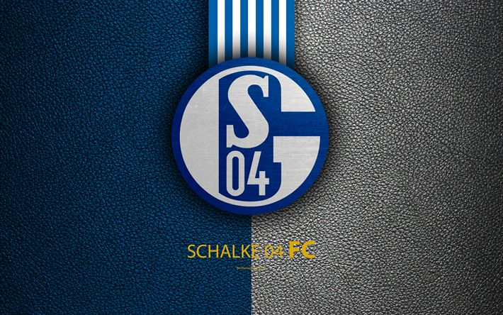 Download wallpapers Schalke 04 FC, 4K, German football club, Bundesliga, leather texture, Schalke emblem, logo, Gelsenkirchen, Germany, German Football Championships