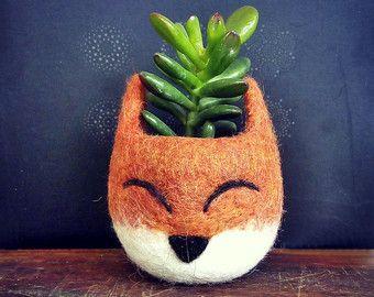 Succulent planter / Fox head planter / cactus pot / kitsune vase/ mini planter / Fox lover gift / gift for her
