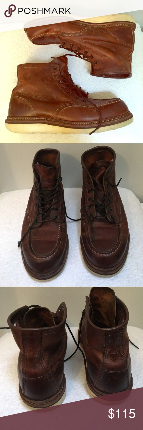 Red Wing steel-toed boots Authentic and beautiful Red Wing steel-toed boots! Normal wear to the shoes themselves and the soles. In good condition. Extremely hard to find for such a great price! Red Wing Shoes Shoes Boots