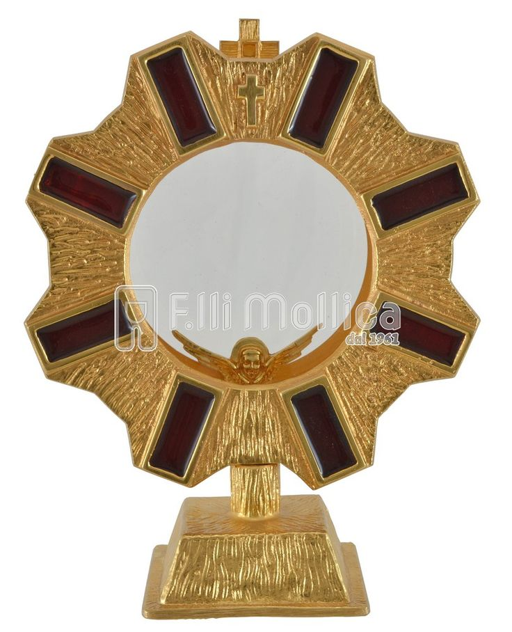 Chapel Monstrance with Rays and red enamel.
