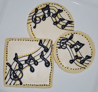 Music Cookies~        By The Preppy Chef:,#  Music Themed Cookies, white, Black, notes