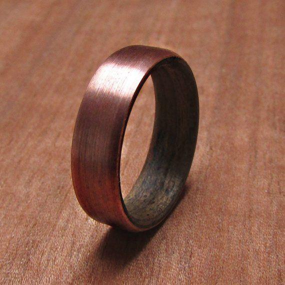Walnut Wood And Copper Wedding Ring Rustic Mens Wedding Band 7