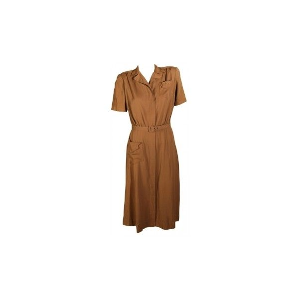 1930s Gabardine Dress ($159) ❤ liked on Polyvore featuring dresses, design element, brown vintage dress, gabardine dress, tailored dresses and vintage dresses