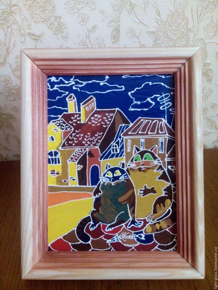 Купить Картинка в подарок Кошачий романтик - кошечки, на крыше, юмор, картинка, детям, романтическое настроение