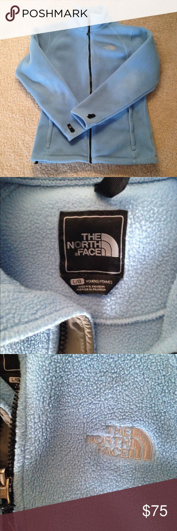 Light Blue North Face Jacket Full-zip North Face jacket. Size L. Good Condition! 2 front pockets. Light blue color. WILL ACCEPT ALL REASONABLE OFFERS! North Face Jackets & Coats
