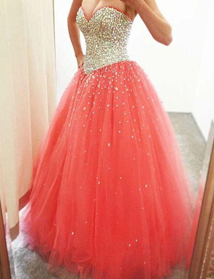 Luxurious Sweetheart Sleeveless Zipper-Up Rhinestone Sequines Long Prom Dress by DestinyDress, $217.31 USD