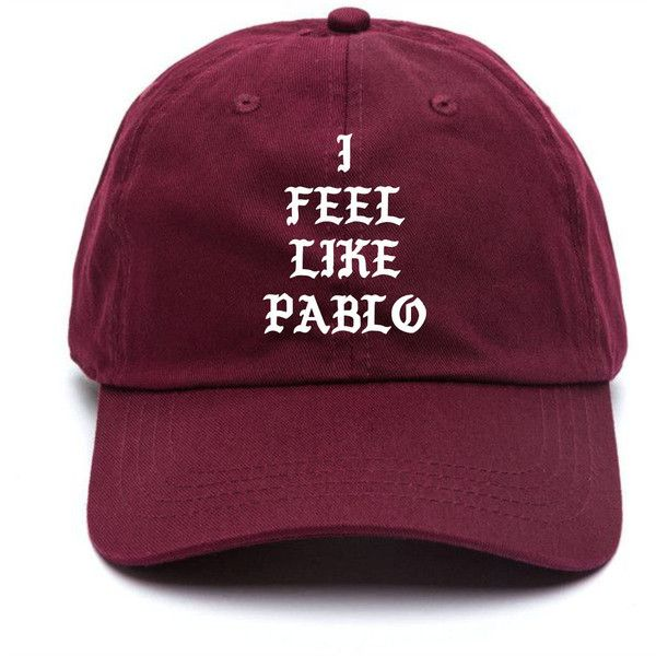 I Feel Like Pablo Baseball Hat Kanye West The Life Of Pablo Merch... (800 UYU) ❤ liked on Polyvore featuring accessories, hats, ball cap hats, strap hats, embroidery hats, embroidered baseball caps and buckle hats