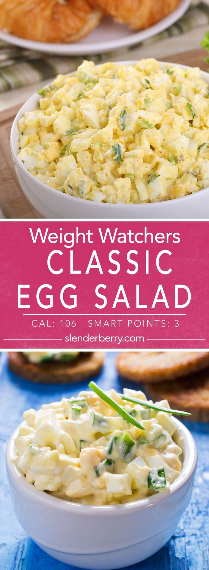 Weight Watchers 3 Smart Points Classic Egg Salad Recipe – 106 Calories INGREDIENTS 4 servings 4 egg large 2 egg white large 2 tbsp fresh chives chopped 2 tsp reduced-calorie mayonnaise 1/2 tsp dijon mustard 1/2 tsp salt dill (to taste) 1/4 tsp black pepper ground DIRECTIONS 1. Place eggs in a medium saucepan andMore