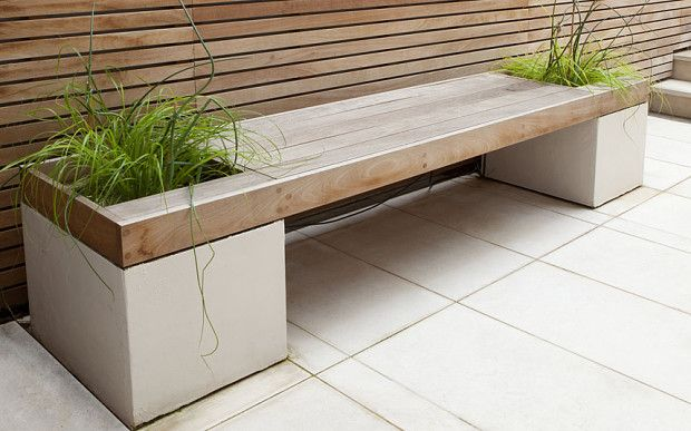 Wooden bench with planting spaces, timber screen