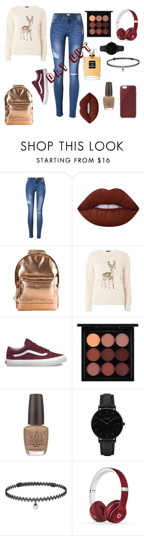 """""""Day Out"""" by adele-ioannou ❤ liked on Polyvore featuring Lime Crime, Mi-Pac, Dorothy Perkins, Vans, MAC Cosmetics, OPI, CLUSE, BERRICLE, Beats by Dr. Dre and Native Union"""