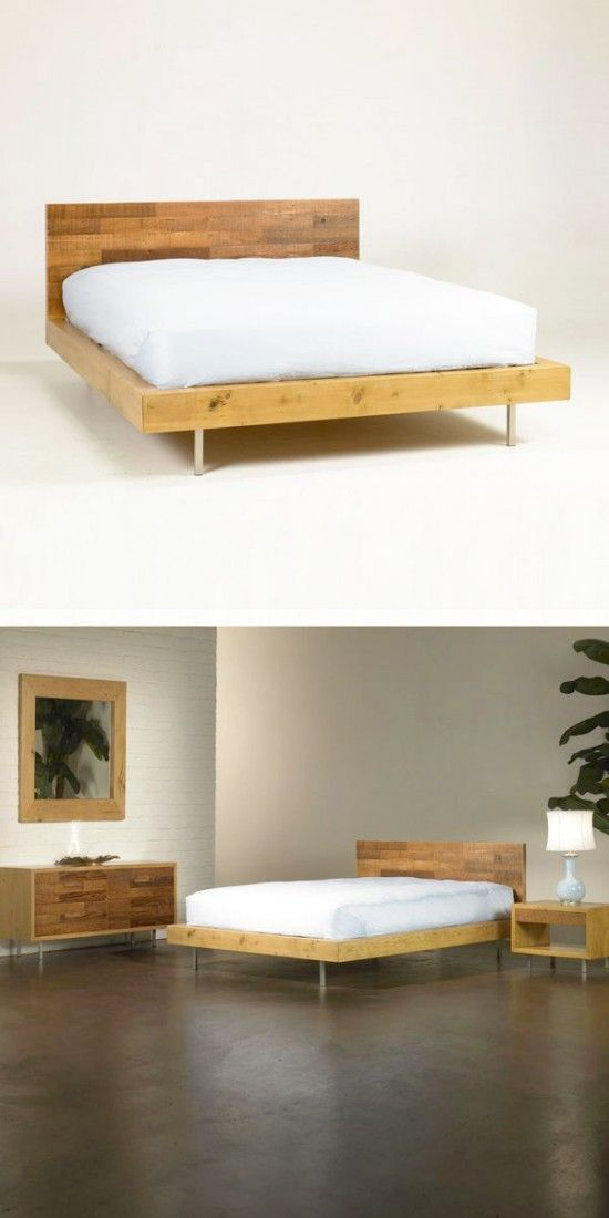 When you want eco-friendly furnishings, it's hard to beat reclaimed wood. Warm tones of old wood get a squared-off, modern design in this low-slung, beautiful bed frame. The natural grain of the wood becomes art, as it's paneled on the headboard in a patchwork design that shows off its natural texture. It's finished with environmentally responsible stain and varnish for your peace of mind.