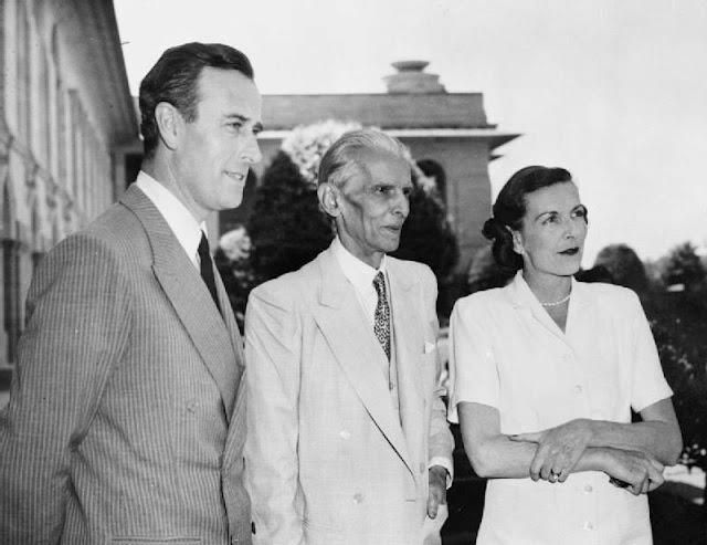 A Memorable picture of Lord and Lady Mountbatten with Mohammad Ali Jinnah.