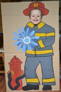 Photo booth and other ideas for a firetruck/fireman themed birthday party