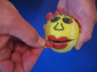 Hungry Guy tennis ball - instructions on how to make included. Repinned by playwithjoy.com For more fine motor pins visit pinterest.com/playwithjoy