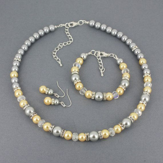 Light Yellow and Grey Necklace Pearl by DaisyBeadzJoaillerie