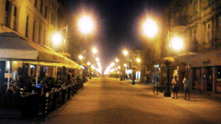 Piotrkowska nocą, Łódź w sierpniu 2014r.