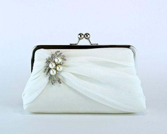 Bridal clutch, Silk Chiffon Clutch with Brooch, Wedding clutch, Wedding bag,  Purse for wedding on Etsy, $84.00