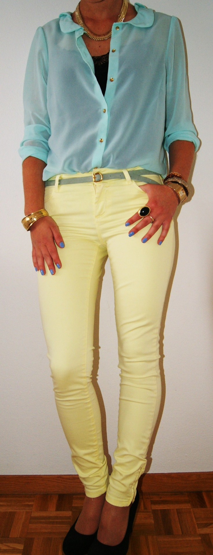 mint shirt and mustard/yellow pants